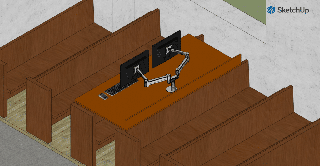 A computer rendering of the isometric projection of the new desk