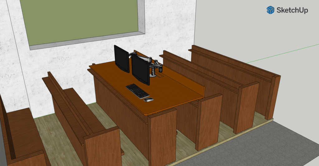 A computer rendering of a perspective projection the new desk