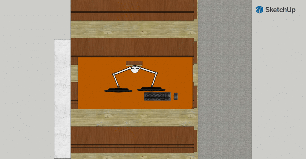 A computer rendering of the plan view of the new desk