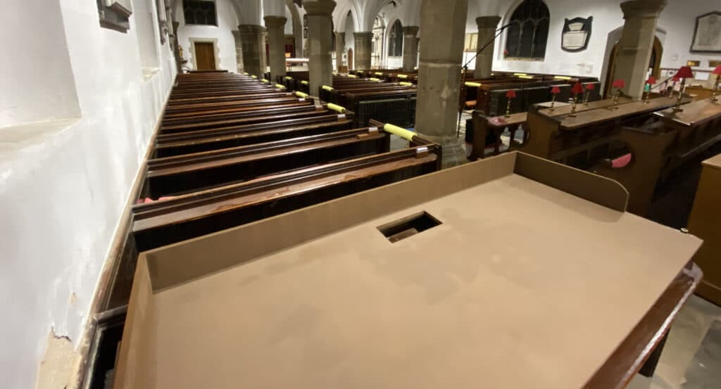A view from behind the new desk, looking towards the rest of the church.